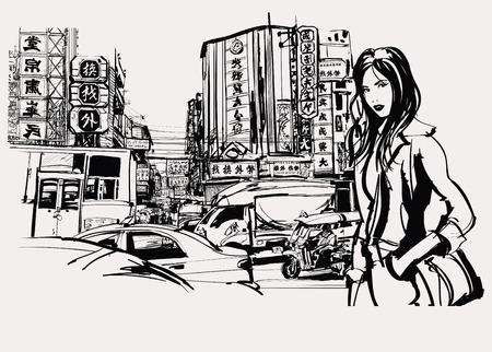 femme dessin: Femme voyageant en Asie Illustration