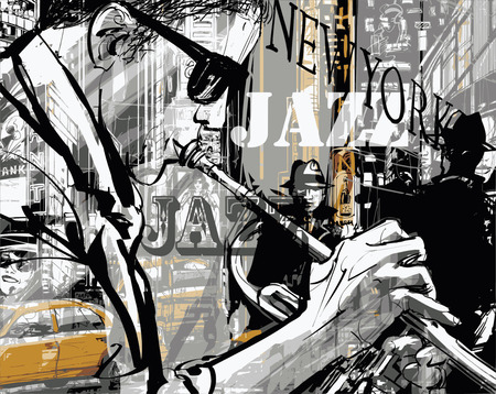 trumpet player: Jazz trumpet player in a street of New york Illustration