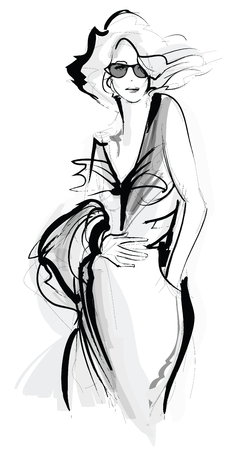 Vrouwen mode met Zonnebrillen- vector illustratie Stockfoto - 53984059