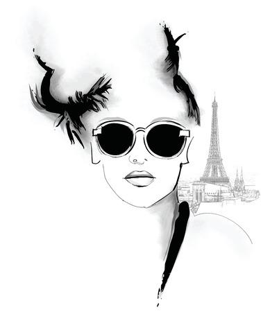 mode: Jonge mooie fashion model met zonnebril in Parijs Stock Illustratie