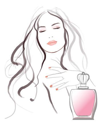 Jeune jolie publicité pour le parfum femme