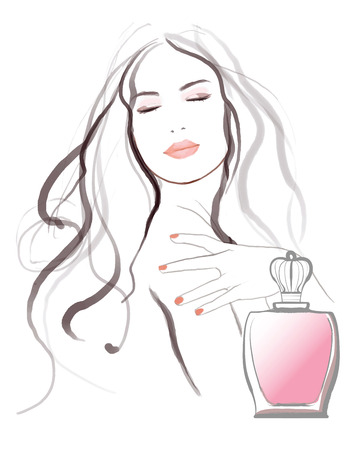 pampering: Young pretty woman advertising for perfume