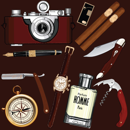 Set of vintage mens accessories - illustration