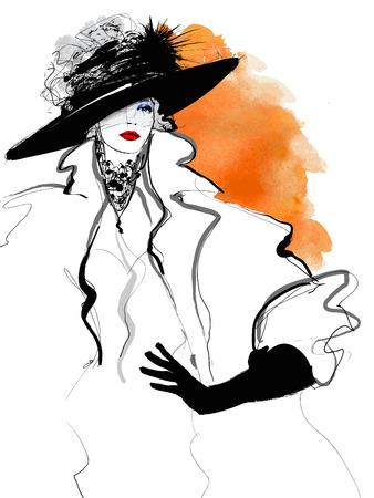 Moda model kobiety z czarnym kapeluszu - ilustracja