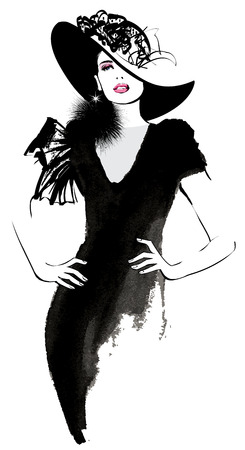 Fashion woman model with a black hat - illustration Çizim