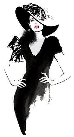 femme dessin: femme modèle de mode avec un chapeau noir - illustration