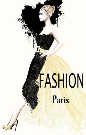 defile: Fashion women defile - illustration Illustration