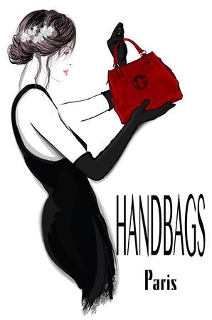 modèle de mode femme en robe noire avec sac à main - illustration