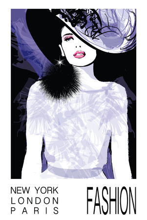 a charming: Fashion woman model with a black hat - illustration Illustration