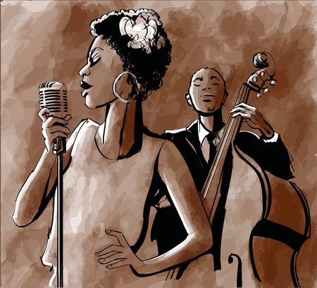 Jazz singer and double-bass - illustration