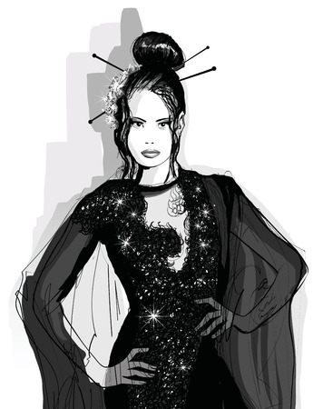 black fashion model: Fashion Asian model in black dress - illustration