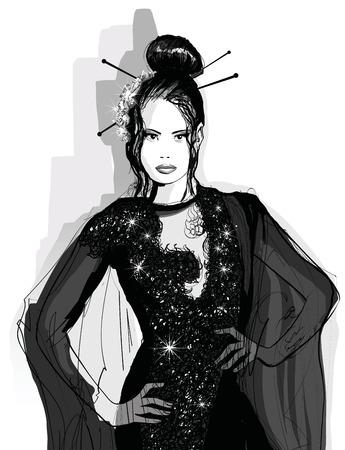 Fashion Asian model in black dress - illustration
