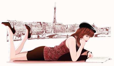 Young  girl reading along the Seine river in Paris - illustration Stock Vector - 55054532