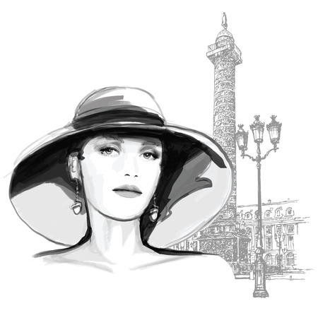 Young woman fashion model place vendome in Paris - illustration