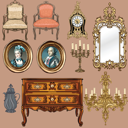 armchair: Collection of objects style Louis XV - Vector illustration