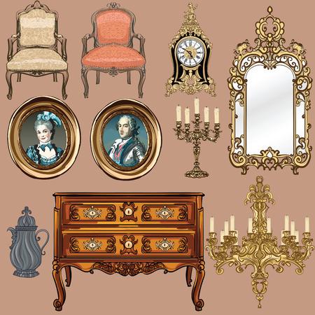 Kolekcja przedmiotów w stylu Ludwika XV - Ilustracja wektora Ilustracje wektorowe