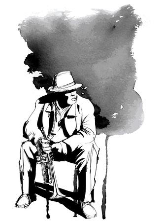 Jazz trumpet player - vector illustration