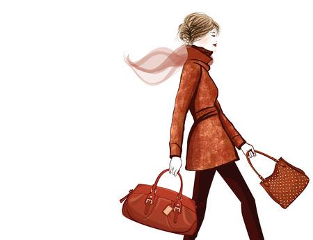 woman bag: Woman traveling with bag - vector illustration Illustration
