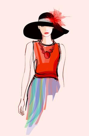 검은 모자 - 그림 패션 여자 모델 일러스트