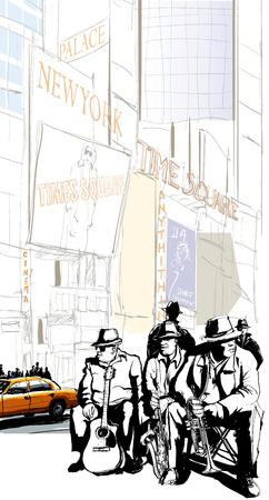 newyork: Jazz band in New-York -  illustration