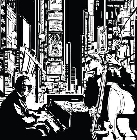 newyork: Jazz band in New-York - vector illustration