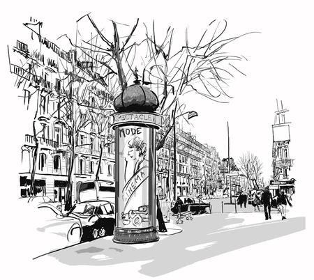 Boulevard in Paris - illustration