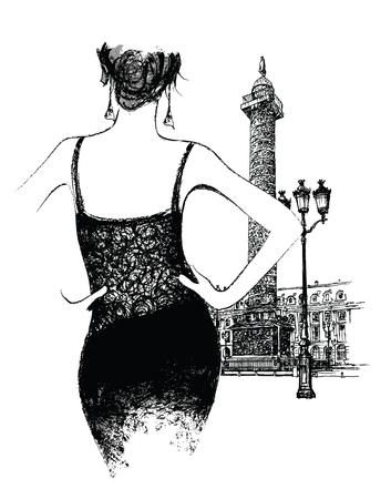austerlitz: Young woman fashion model place vendor in Paris