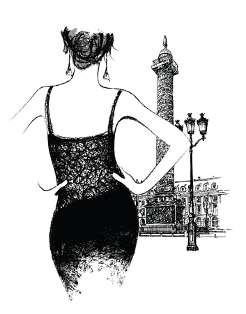 napoleon: Young woman fashion model place vendor in Paris