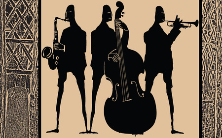 banda de jazz en el estilo étnico de la ilustración de diseño