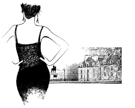pont: Young fashion woman looking the pont Neuf bridge in Paris illustration