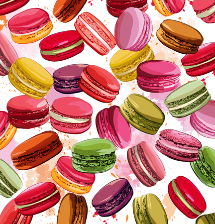 macaron: Colorful french macaron cookies collection Illustration