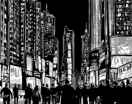Interpretation of Times Square in New York in black and white Illustration