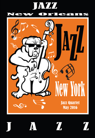 double bass: Jazz poster with double bass