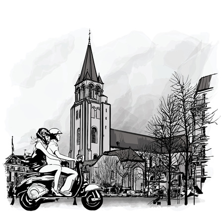 architecture drawing: Couple on a scooter in Paris, Saint Germain des Pres  illustration