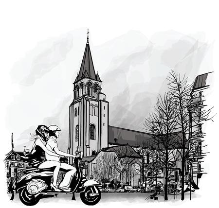 pres: Couple on a scooter in Paris, Saint Germain des Pres  illustration