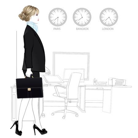 negocios internacionales: mujer de negocios internacional de entrar en la oficina - ilustración vectorial Vectores