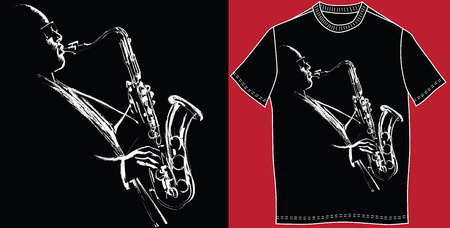 audiophile: T-shirt with saxophonist - vector illustration