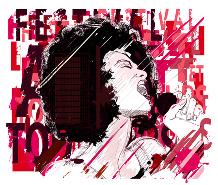jazz singer: Music Jazz, afro american jazz singer on grunge background - vector illustration Illustration