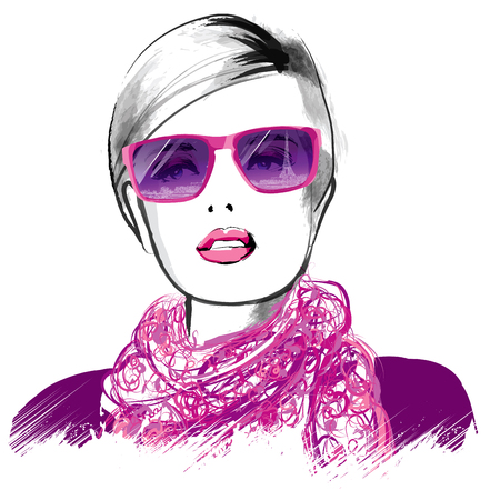 Young fashion model in Paris with headscarf and sunglasses - vector illustration Stock Illustratie