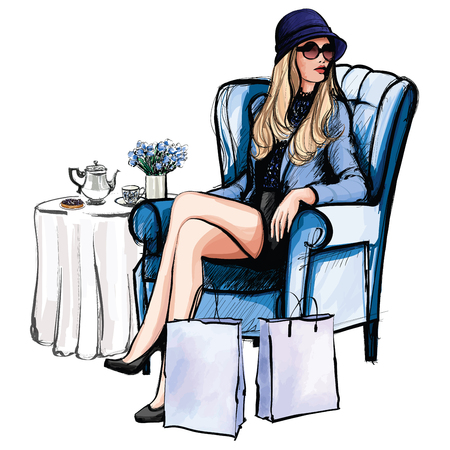 after shopping: Woman having tea after shopping - vector illustration Illustration