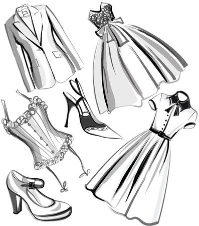 fifties: Set of clothes and shoes from the fifties - vector illustration