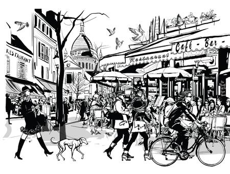 frances: café vieja en Montmartre - ilustración vectorial