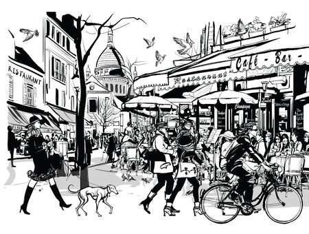 Old cafe in Paris Montmartre - vector illustration Çizim