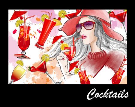 coquetel: Mulher bonita nova com chapéu que tem um cocktail - ilustração do vetor