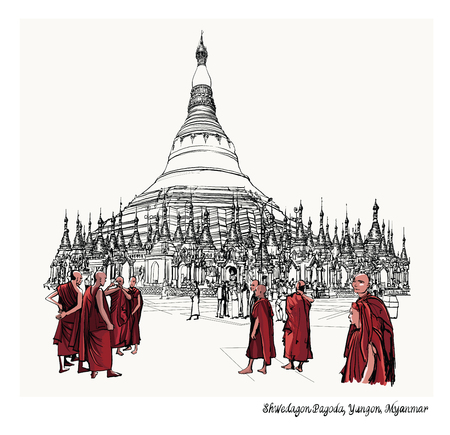 holy place: Yangon, Myanmar view of Shwedagon Pagoda - vector illustration Illustration
