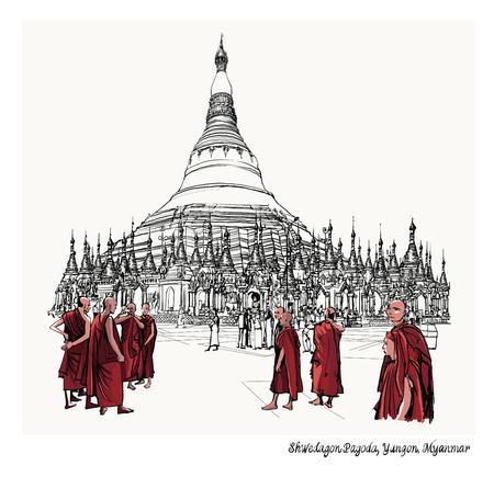Yangon, Myanmar view of Shwedagon Pagoda - vector illustration