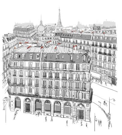 Eiffel toren op de daken van Parijs - vector illustratie
