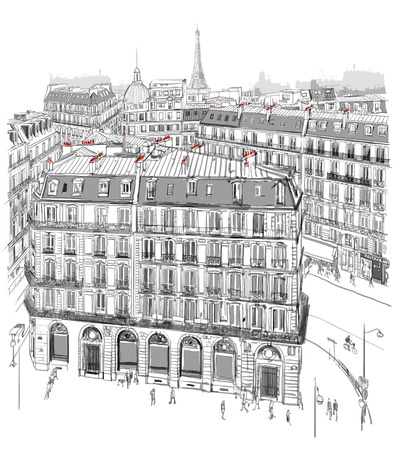 paris: Eiffel tower over roofs of Paris - vector illustration