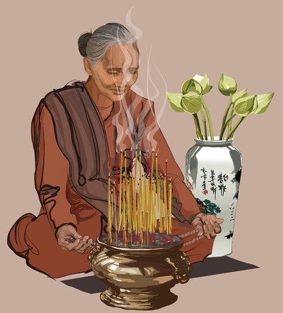 buddhist: Woman praying in a buddhist temple - vector illustration
