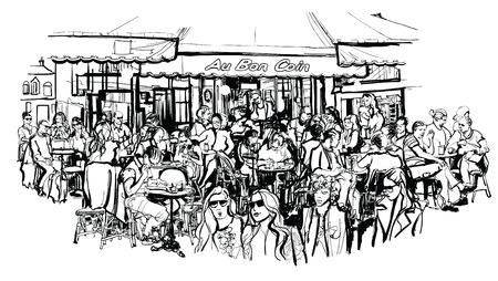 Los clientes de la cafetería tradicional parisina al aire libre - ilustración vectorial